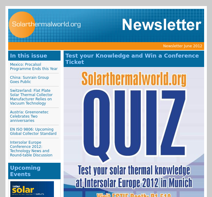 Previous Newsletters | Solarthermalworld