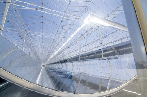 View along the parabolic mirror in one of the first finished Miraah glasshouses