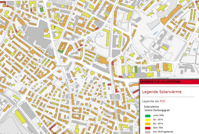 Map shows solar thermal potential of buildings in Bern
